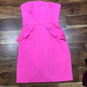 J.Crew hot pink strapless dress